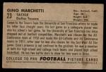 1952 Bowman Small #23  Gino Marchetti  Back Thumbnail