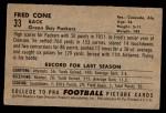 1952 Bowman Small #33  Fred Cone  Back Thumbnail
