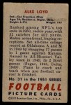 1951 Bowman #31  Alex Loyd  Back Thumbnail