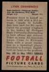 1951 Bowman #60  Lynn Chandnois  Back Thumbnail
