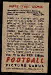 1951 Bowman #72  Harry Gilmer  Back Thumbnail