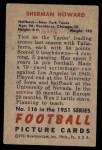1951 Bowman #116  Sherman Howard  Back Thumbnail