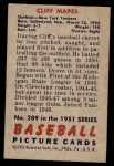1951 Bowman #289  Cliff Mapes  Back Thumbnail