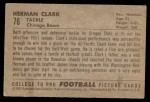 1952 Bowman Small #76  Herman Clark  Back Thumbnail