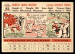 1956 Topps #92  Red Wilson  Back Thumbnail