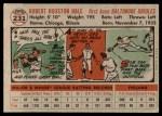 1956 Topps #231  Bob Hale  Back Thumbnail