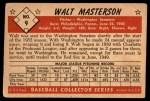 1953 Bowman B&W #9  Walt Masterson  Back Thumbnail