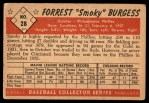 1953 Bowman #28  Smoky Burgess  Back Thumbnail