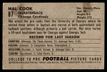 1952 Bowman Small #87  Mal Cook  Back Thumbnail