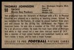 1952 Bowman Small #90  Thomas Johnson  Back Thumbnail