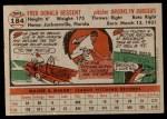 1956 Topps #184  Don Bessent  Back Thumbnail