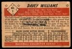 1953 Bowman #1  Davey Williams  Back Thumbnail