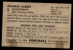 1952 Bowman Small #5  Frankie Albert  Back Thumbnail