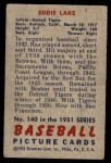 1951 Bowman #140  Eddie Lake  Back Thumbnail