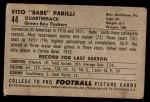 1952 Bowman Small #44  Vito Babe Parilli  Back Thumbnail