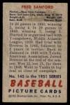 1951 Bowman #145  Fred Sanford  Back Thumbnail