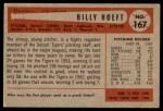 1954 Bowman #167  Billy Hoeft  Back Thumbnail
