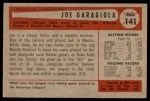 1954 Bowman #141  Joe Garagiola  Back Thumbnail
