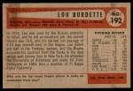 1954 Bowman #192  Lew Burdette  Back Thumbnail
