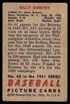1951 Bowman #43  Billy DeMars  Back Thumbnail