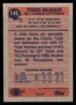 1991 Topps #145  Todd McNair  Back Thumbnail