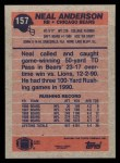1991 Topps #157  Neal Anderson  Back Thumbnail