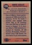 1991 Topps #206  Mike Golic  Back Thumbnail
