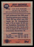1991 Topps #349  Jeff George  Back Thumbnail