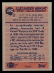 1991 Topps #362  Alexander Wright  Back Thumbnail