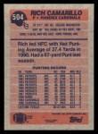 1991 Topps #504  Rich Camarillo  Back Thumbnail