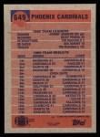 1991 Topps #649   -  Bill Lewis / Johnny Johnson / Ricky Proehl / Tim McDonald / Ken Harvey  Cardinals Leaders Back Thumbnail
