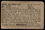 1952 Bowman Large #36  John Lee Hancock  Back Thumbnail