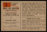 1954 Bowman #8  Norm Van Brocklin  Back Thumbnail
