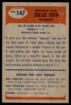 1955 Bowman #147  Zollie Toth  Back Thumbnail