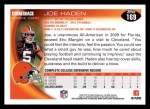 2010 Topps #169  Joe Haden  Back Thumbnail