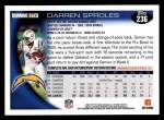 2010 Topps #236  Darren Sproles  Back Thumbnail