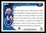 2010 Topps #317  Dallas Clark  Back Thumbnail