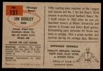 1954 Bowman #121  Jim Dooley  Back Thumbnail