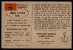1954 Bowman #73  Hugh Taylor  Back Thumbnail