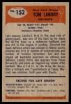 1955 Bowman #152  Tom Landry  Back Thumbnail