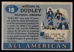 1955 Topps #10  Bill Dudley  Back Thumbnail