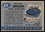1955 Topps #68   -  Jim Crowley / Elmer Layden / Don Miller / Harry Stuhldreher Four Horsemen Back Thumbnail