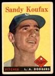 1958 Topps #187  Sandy Koufax  Front Thumbnail