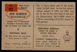 1954 Bowman #92  Don Heinrich  Back Thumbnail