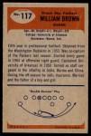 1955 Bowman #117  William Brown  Back Thumbnail