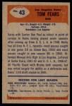 1955 Bowman #43  Tom Fears  Back Thumbnail