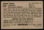 1952 Bowman Large #143  Johnny Papit  Back Thumbnail