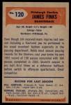 1955 Bowman #120  James Finks  Back Thumbnail