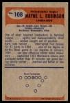 1955 Bowman #108  Wayne Robinson  Back Thumbnail