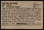 1952 Bowman Large #57  Wayne Millner  Back Thumbnail